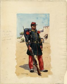 French; 1st Regt Foreign Legion, Grenadier Sergeant at Bougie 1858 by Lucien Lapeyre