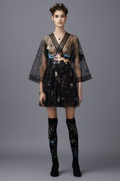 Trendy, Edgy. Chic - black Short Dress with Long Sheer Sleeve - Valentino Pre-Fall 2016 Fashion Show