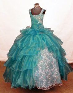 Blue Scoop Layered Little Girl Pageant Dress with Beadings