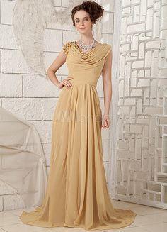 Grace Golden Chiffon Pleated Cowl Evening Dress - Milanoo.com