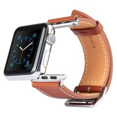 [$12.55] Kakapi Metal Buckle Cowhide Leather Watchband with Connector for Apple Watch 38mm(Brown)