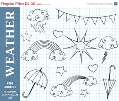 50 OFF SALE Hand Drawn Digital Weather Clip by LoveGraphicDesign, $2.00
