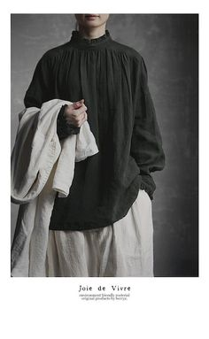 【送料無料】JoiedeVivreベルギーリネンワッシャーフリルローマンブラウス