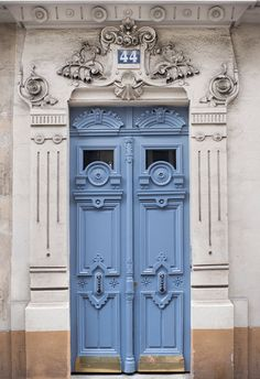 Paris Fotografie - verzieren blaue Tür, Architektur Fotografie, Frankreich reisen Fine Art Photographie, Französisch Home Dekor, große Wandkunst