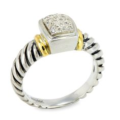 Diamond Sterling Silver Ring with 18K Gold Accents | Cirque Jewels