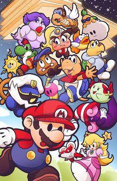 "ashikaiinks: "" If I'm honest, Paper Mario is my favorite game series of all time. Super Mario Bros, Super Mario Brothers, Super Mario World, Super Smash Bros, Jeux Nintendo 3ds, Nintendo Eshop, Nintendo Characters, Video Game Characters, Wallpaper Nintendo"