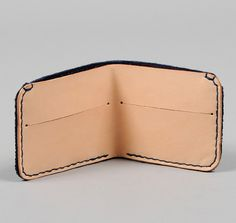 TH-S & Co. Minimalist Bifold Wallet, Natural Leather with Indigo Sashiko Fabric x TRUMAN HANDCRAFTED