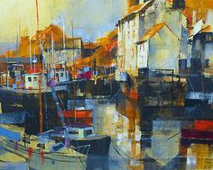 British Artist Chris FORSEY-Polperro Harbour, Early Morning Colours
