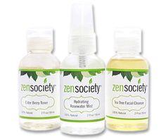 Facial Starter Kit-  Elder Berry Toner, Hydrating Rosewater Mist, Tea Tree Facial Cleanser. via Etsy.