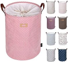 Amazon.com: DOKEHOM 19-Inches Thickened Large Laundry Basket -(9 Colors)- with Durable Leather Handle, Drawstring Waterproof Round Cotton Linen Collapsible Storage Basket (Pink, L): Storage & Organization Large Laundry Basket, Laundry Basket Storage, Laundry Sorter, Laundry Hamper, Storage Baskets, Laundry Area, Large Storage Bags, Bag Storage, Storage Room