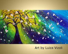 Pintura abstracta Original aceite arte Triptico por LUIZAVIZOLI