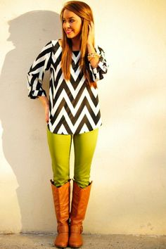 Love the black and whit chevron mixed with green pants and tan boots. Awesome! #shophopes