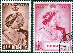 Bermuda King George VI Royal Silver Wedding Set Fine Mint SG 125 6 Scott 133 4 Other Bermuda Stamps HERE