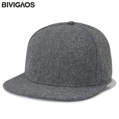 Autumn Winter Fashion Wool Blank Flat brim Snapback Cap Woolen Baseball Caps  Hip hop Hats Solid 99740fe46c2d