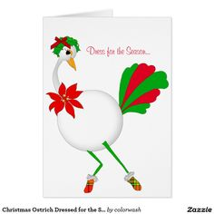Christmas Ostrich Dressed for the Season Card - Add a lighthearted touch to your Christmas mail with this ostrich stylishly decked out for the season. Easily edit any of the text to personalize it. #Christmas #ostrich
