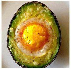 Healthy breakfast. Egg in avacado
