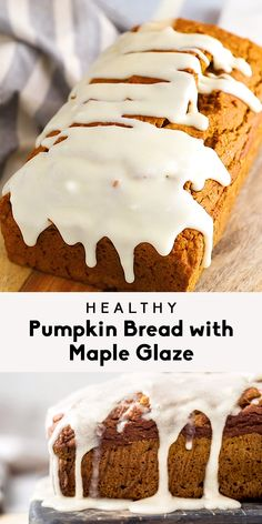Healthy pumpkin bread made with an entire can of pumpkin puree! This cozy pumpkin bread recipe is loaded with pumpkin spices and naturally sweetened with pure maple syrup. Perfectly moist and topped with the most addictive maple glaze. #pumpkin #pumpkinrecipe #quickbread #pumpkinbread #healthybaking #brunch #snack #breakfast