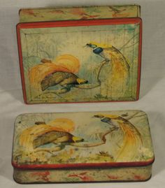 PAIR VINTAGE SWEETS WALTERS PALM TOFFEE TINS C1950S TROPICAL BIRDS OF PARADISE