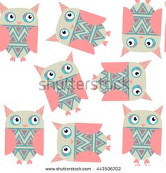 Cute owls seamless pattern and It is located  in swatch menu, vector image. Colorful adorable background. Abstract fantasy illustration for design - stock vector