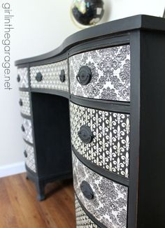Themed Furniture Makeover Day {decoupage}. See how I transformed a vintage desk with Chalk Paint, pretty paper, and Mod Podge! girlinthega...