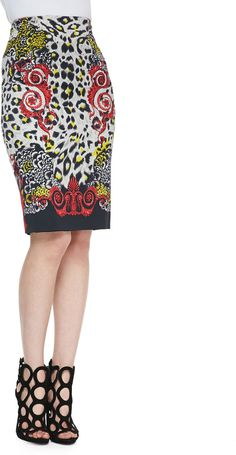 Versace High-Waist Leopard & Scroll Printed Skirt, Red/Black/Multi on shopstyle.com