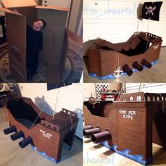 DIY cardboard pirate ship. Anchor out of cardboard and foil. Pirate wheel out of paper plate.