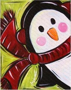 Cute penguin canvas paint idea for wall decor. Canvas painting. Wall art. Merry Christmas. Winter. Red, green, black and white.