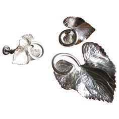 Vintage Carl Art Sterling Silver Etched Leaf Brooch and Earrings Set at WhimsicalVintage