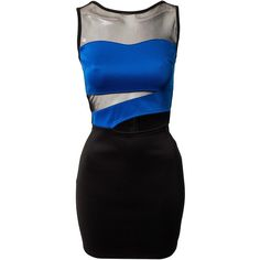 Club L Cut Out Bodycon Dress (3.150 RUB) ❤ liked on Polyvore featuring dresses, vestidos, short dresses, robes, party dresses, kobalt, womens-fashion, cut out bodycon dress, mesh dress and bodycon mini dress