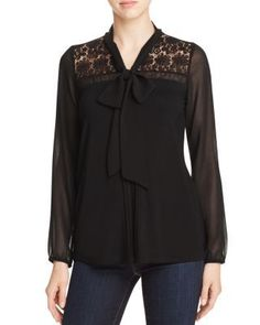 Perfectly poised in floral-lace and chiffon, Design History's elegant blouse features a pretty bow at the neckline for effortless femininity. | Viscose/spandex; lace & sleeves: polyester | Hand wash |
