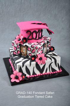 zebra and leopard grad cake