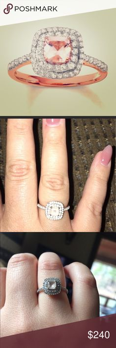 FINAL!! Morganite Topaz 10k rose gold diamond ring Size 7 purchased at KAY Jewelers for 660$ Kay Jewelers Jewelry Rings