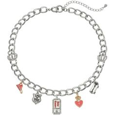 Juicy Couture Skateboard, Heart, Ticket, Shield & Sneaker Charm... ($9.99) ❤ liked on Polyvore featuring jewelry, necklaces, pink, charm necklace, pink heart jewelry, heart necklace, juicy couture jewelry and pink jewelry