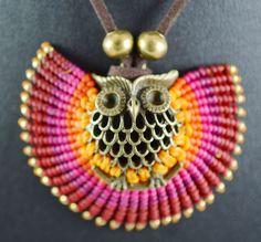 Macrame Brass Boho Necklace Indian Necklace by niceandbeauty