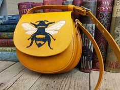 Bumblebee bag, yellow leather bag, ladies handbag, leather bag, 3rd anniversary, gift for her, birthday, handbag, cross body bag, bumblebee