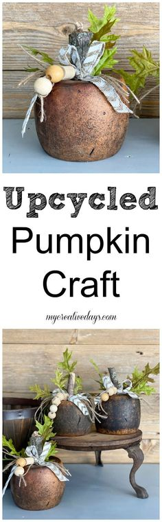 Use supplies you already have on hand to create decor for your home. This Upcycled Pumpkin Craft came together easily with supplies I had! #falldecor #cheapfalldecor #easyfalldiy #fall #falldiy