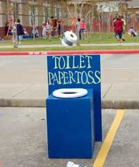 Carnival Game - Toilet Paper Toss.  We always play this one at Fall Harvest parties.
