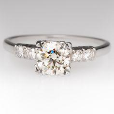 .70 Carat Round Brilliant Diamond Vintage Platinum Ring 1940's