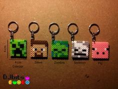 Minecraft Magnets Charms and Keychains from Perler Beads by DJbits
