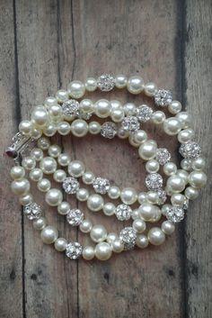 Wedding Jewelry / Pearl Rhinestone Bridal Cuff