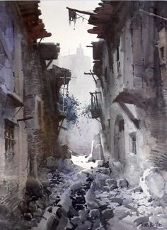 Check out image on . Watercolor Sketch, Watercolour Painting, Watercolors, Rafael Garcia, Asian Paints, Painting Competition, Old Art, Urban Landscape, Art Oil