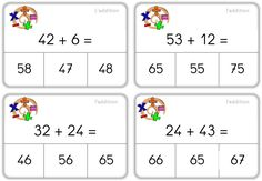 Self-correcting calculation sets – Caracolus - Modern Math Addition, Addition And Subtraction, Math School, Math Task Cards, Math Intervention, Montessori Materials, Homeschool Math, First Grade Math, Math For Kids