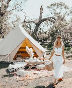 Glamping Picnic Bell Tent Camping, Army Tent, Tent Set Up, Gili Island, Only Clothing, Queen Mattress, Down South, Happy Campers, Wall Canvas