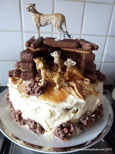 Cheetah Birthday Cake Cheetah Rock Birthday Cake For Grayson Cheetah Birthday Cakes, Leopard Birthday, Small Birthday Cakes, Animal Birthday Cakes, Animal Cakes, Birthday Cupcakes, Cat Birthday, Cheetah Print Cakes, Leopard Cake