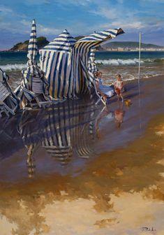 Ricardo Sanz – Marea alta en Ondarreta Óleo sobre lienzo. 162×114 cms.