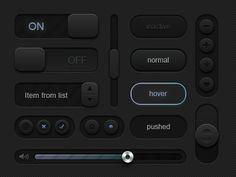 Black UI Kit, Vector - 365PSD.com