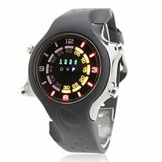 Tanboo Unisex Silicone Digital LED Wrist Watch with Colorful Light (Black) by Tanboo Watchs. $27.99. Sports Fan Watch. Gender:Women's, Men'sMovement:LEDDisplay:DigitalStyle:Wrist WatchesType:Fashionable WatchesBand Material:SiliconeBand Color:BlackCase Diameter Approx (cm):4.5Case Thickness Approx (cm):1.2Band Length Approx (cm):27.5Band Width Approx (cm):2.5