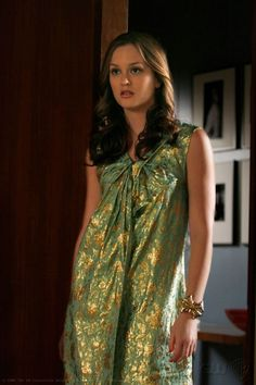2x22 Gorgeous dress. I want it! Ugh gold and green; it's just beautiful. 3.1 Phillip Lim dress.  Rachel Leigh cuff.