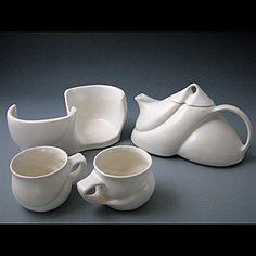 "Tea for Two (porcelain, white glaze) five-piece set: teapot (32oz), lid, two cups (6oz), S-curved base  9"" x 4.75"" x 8.5"