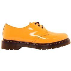 Dr Martens Acid Orange Patent Lamper Flat Shoe (16.065 HUF) ❤ liked on Polyvore featuring shoes, flats, dr martens shoes, patent leather shoes, patent shoes, patent flat shoes and orange flats